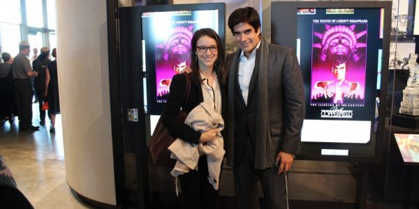 Elizabeth Livesey and David Copperfield at the Statue of Liberty Museum opening on May 16, 2019