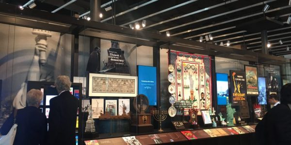 Images and artifacts on display at the Statue of Liberty Museum