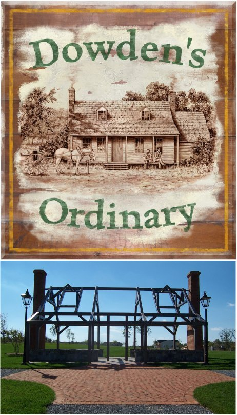 "Dowden's Ordinary is a local park in Clarksburg, Maryland, featuring a ""ghost"" structure outlining the tavern that served as inspiration for the park site. Photos courtesy Montgomery County Department of Parks."