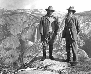 Theodore Roosevelt and John Muir on Glacier Point, Yosemite Valley, California, around 1906. Photo courtesy Harpers Ferry Center Historic Photos Collection.