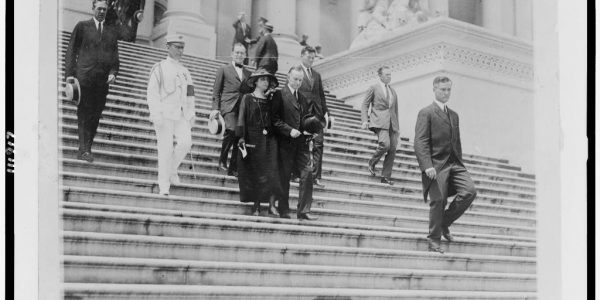 President and Mrs. Coolidge leave the Capitol after Warren G. Harding's funeral, August 8, 1923