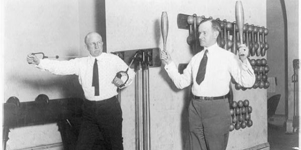 Vice President Calvin Coolidge and House Speaker Frederick Gillett exercise in the House gym, January 31, 1923