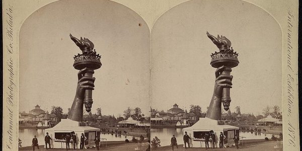 Visitors paid to climb to the top of the Statue's torch at the 1876 Centennial Exhibition in Philadelphia. Photo courtesy Library of Congress.