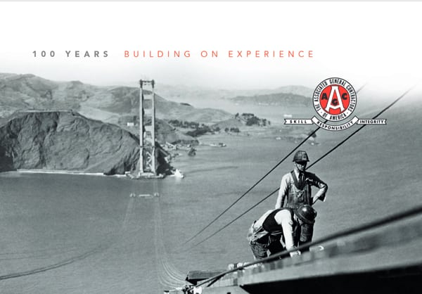 A photo showing the Golden Gate Bridge under construction, from the AGC centennial book.
