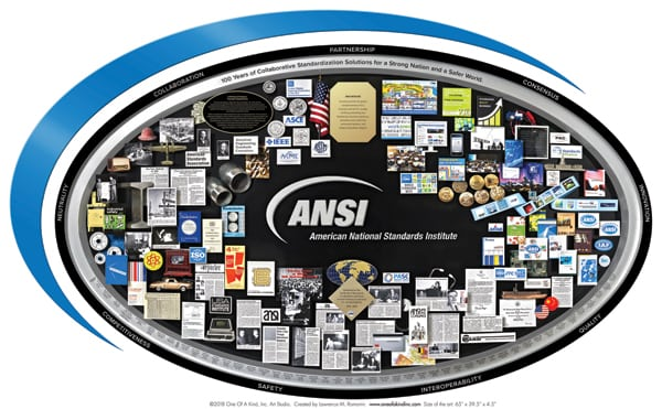 Silver Spring, Md., art studio One Of A Kind produced this 3D collage for ANSI's centennial.