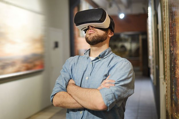 A VR headset in use within a museum environment.