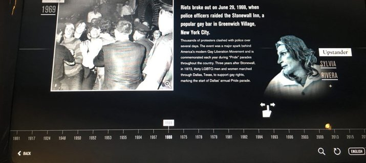 Images support multimedia exhibits at the Museum, like this touchscreen timeline