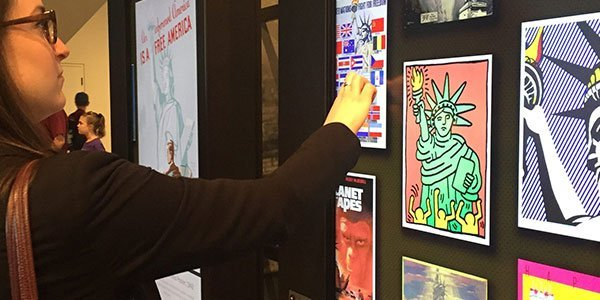 Interactive display of art inspired by the Statue of Liberty