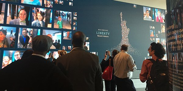 The Becoming Liberty multimedia display at the Statue of Liberty Museum