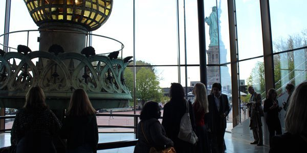The original torch of the Statue of Liberty at the museum on Liberty Island