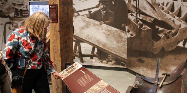 Historic images enhance the experience at the Statue of Liberty Museum