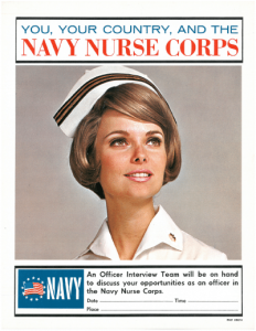 Recruiting poster from 1968 showing a nurse in ward whites. Image courtesy NNCA.