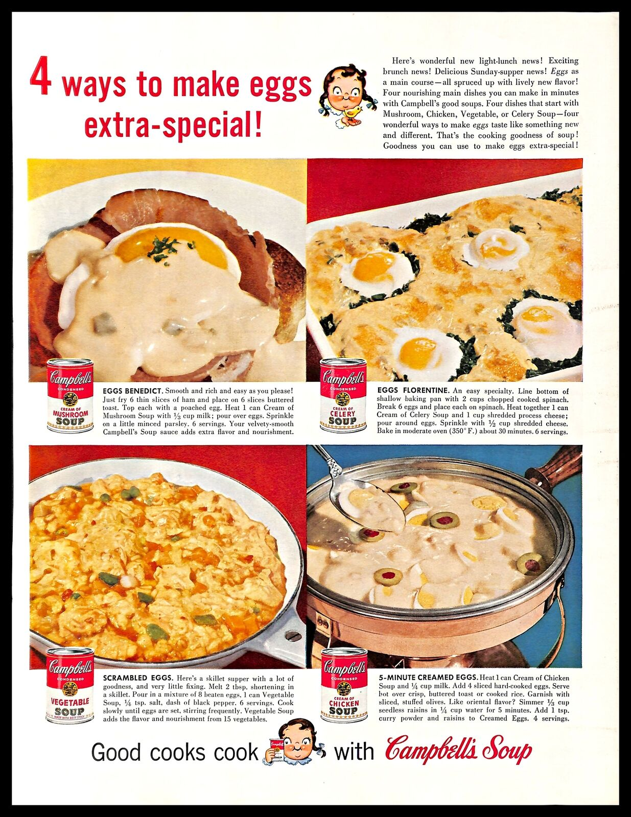 A Campbell's Soup advertisement including egg recipes